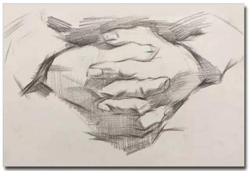 2,强化关系 加强对手部结构的理解,手部的刻画在素描半身像当中,是继