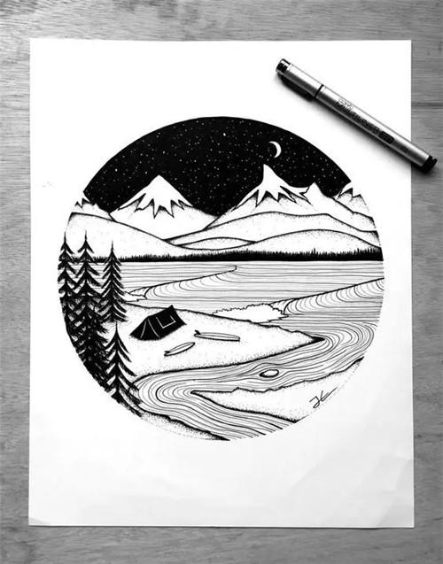 幅简单又有创意的微型风景 接下来要说的这位插画师 她对针管笔的运用
