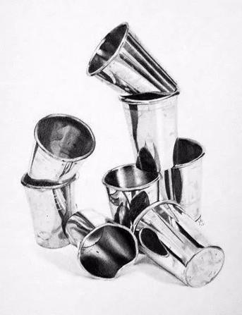 """"""" /不锈钢质感 / 被虐指数:★★★☆☆ 不锈钢也是素描静物中常见的物"""