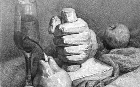 北京画室石膏水果静物素描教程
